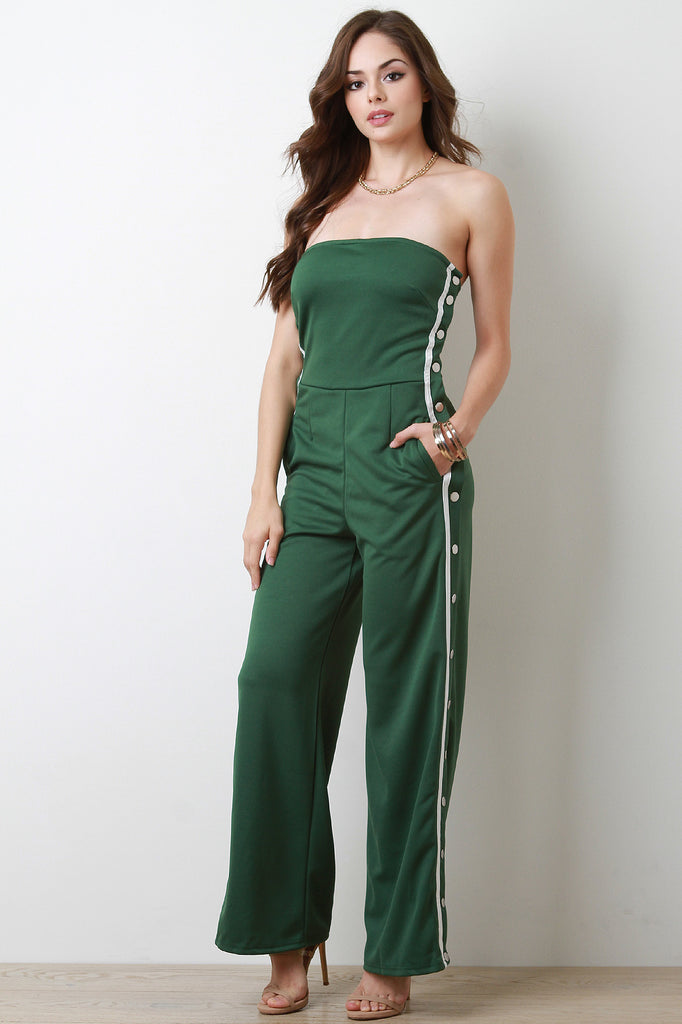 Snap Button Side Stripe Strapless Jumpsuit