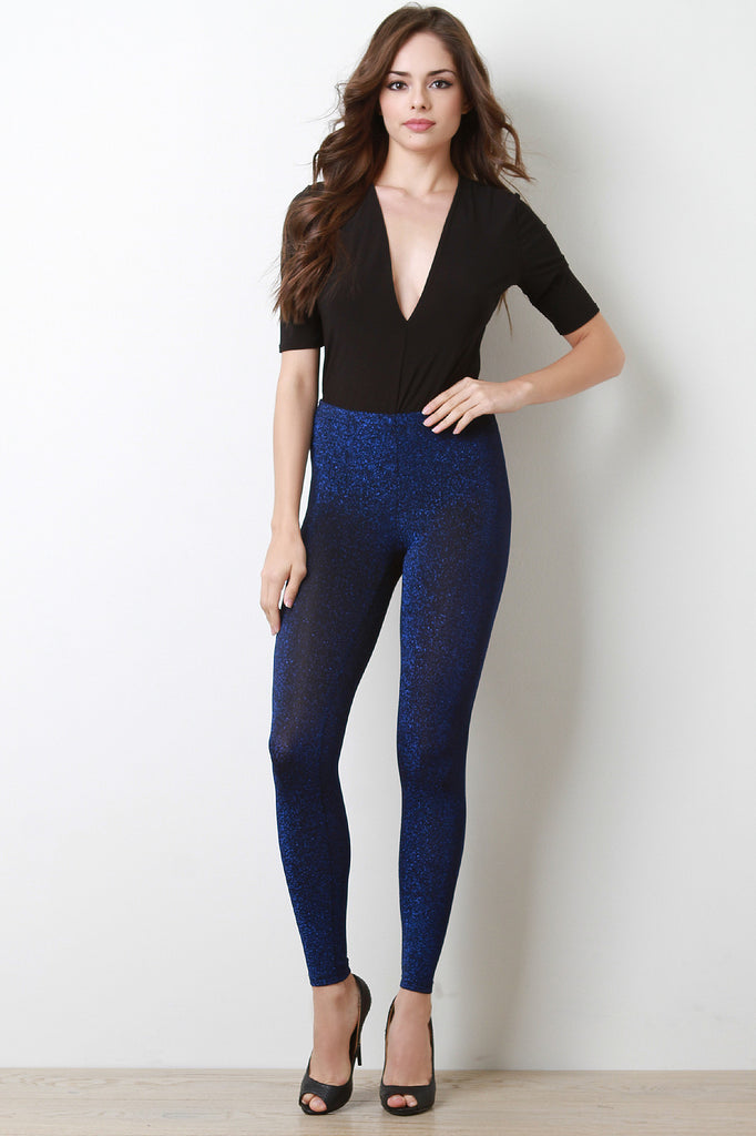 Glitter Knit High Waisted Leggings