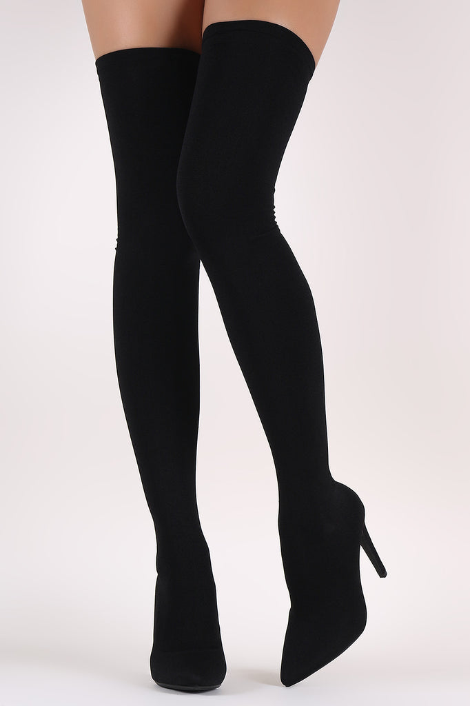 Stretched Knit Pointy Toe Sock Stiletto Over-The-Knee Boots