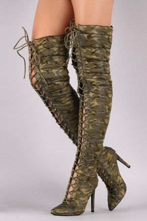 Camouflage Quilted Puffer Lace-Up Stiletto OTK Boots