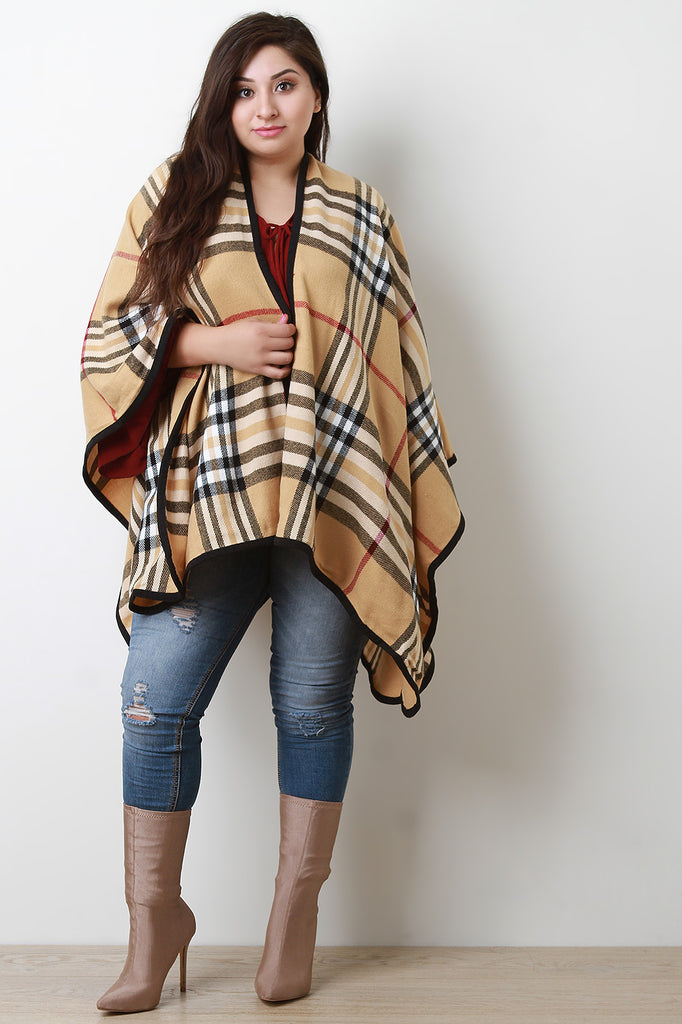 Plaid Pattern Open Front Poncho