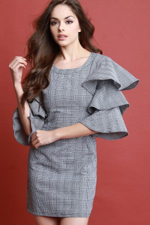Layered Ruffle Sleeves Checker Sheath Dress