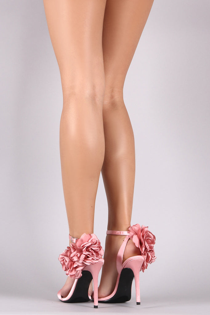 Qupid Floral Satin Ankle Strap Stiletto Heels
