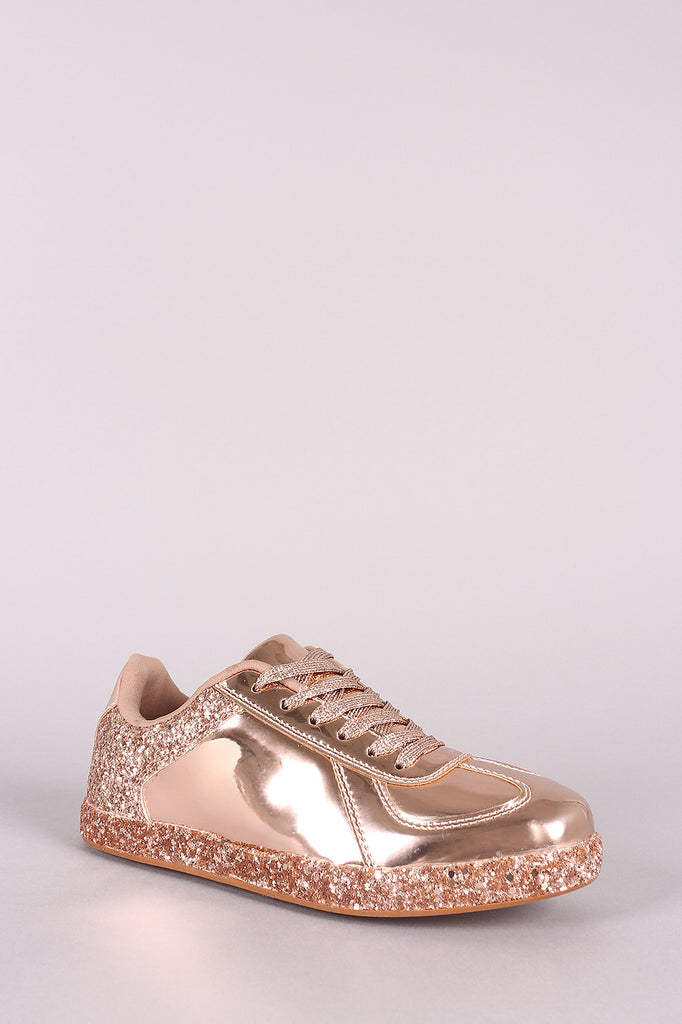 Qupid Glitter Accent Holographic Low Top Lace Up Sneaker