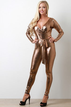 Metallic Surplice Jumpsuit