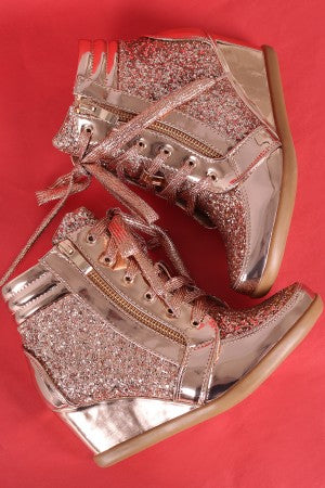 Glitter Encrusted Lace-Up High Top Wedge Sneaker