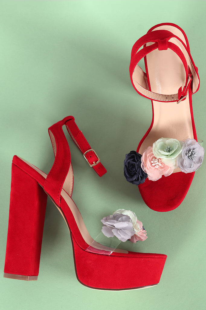 Floral Accent Clear Open Toe Ankle Strap Chunky Platform Heel