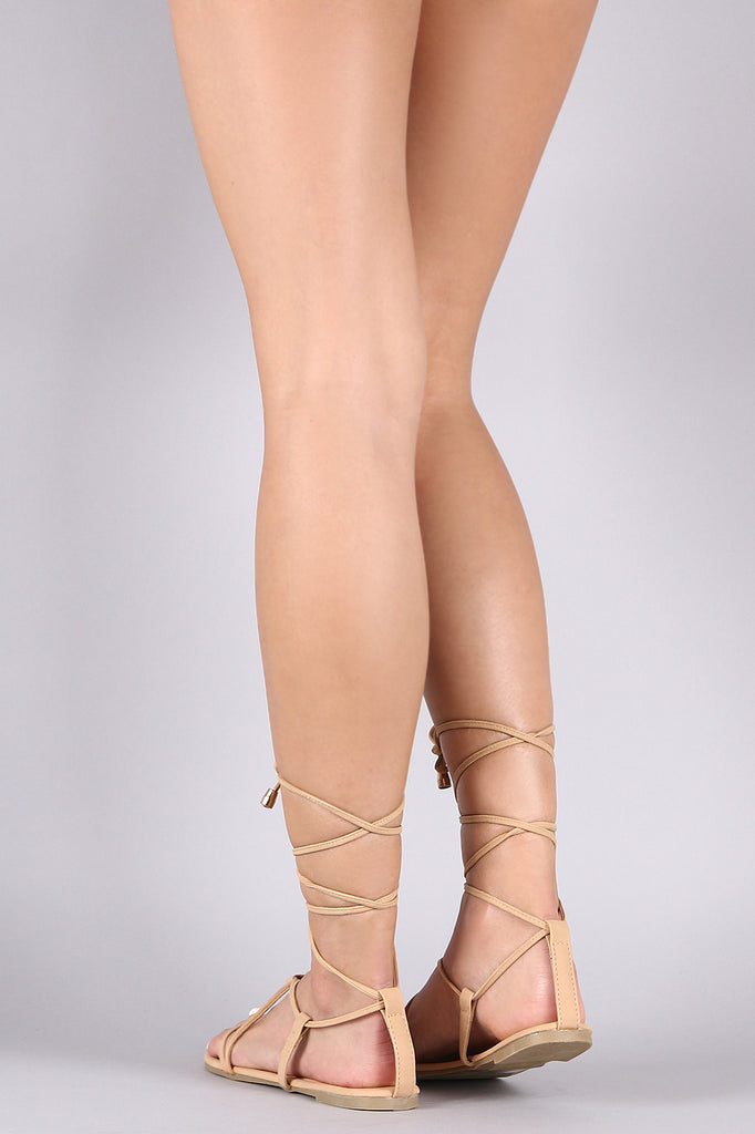 Liliana Nubuck Lace-Up Gladiator Thong Flat Sandal
