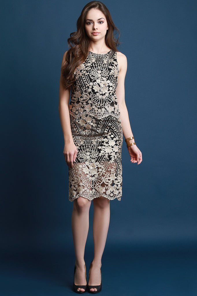 Metallic Floral Embroidery Two Piece Dress