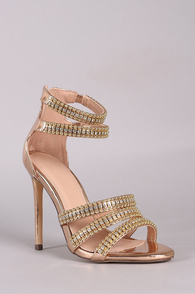 Metallic Rhinestone Beaded Accent Strappy Stiletto Heel