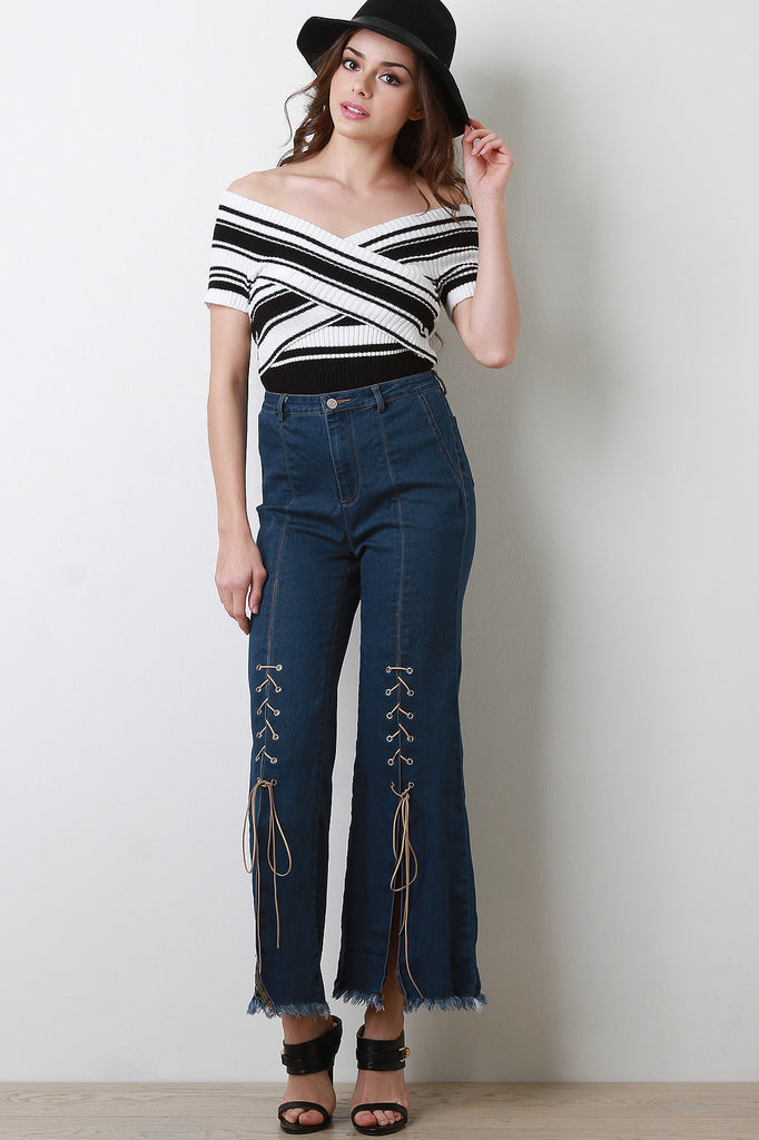Corset Lace-Up High Rise Denim Jeans