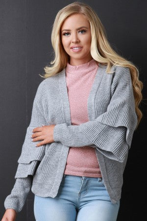 Open Front Statement Sleeves Sweater Knit Cardigan