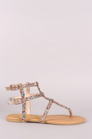 Qupid Leather Strappy Rhinestone Caged Thong Flat Sandal