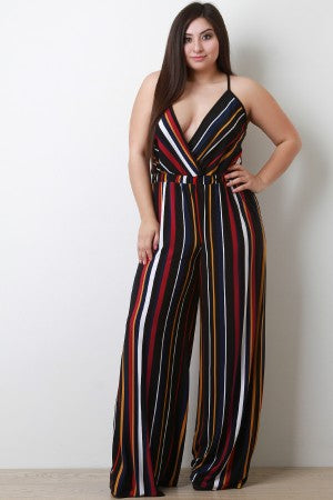 Vertical Striped Surplice Palazzo Jumpsuit