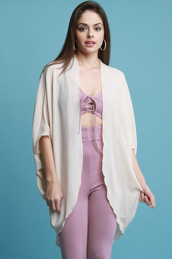 Draped Sides Dolman Sleeve Cardigan