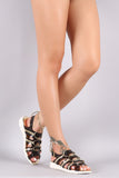 Clear Gladiator Metallic Lace Up Sandal