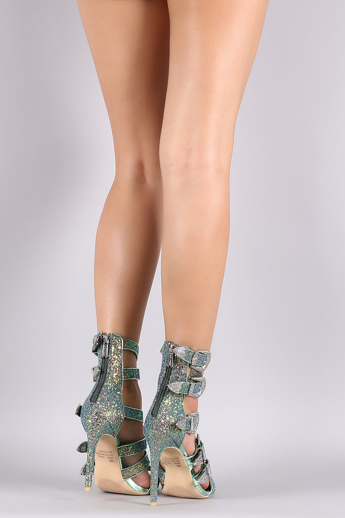 Glitter Encrusted Strappy Etched Buckled Stiletto Heel