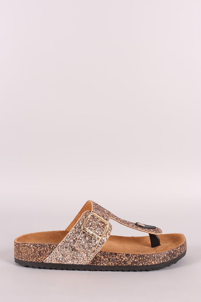Glitter-Encrusted Buckled Thong Footbed Slide Sandal