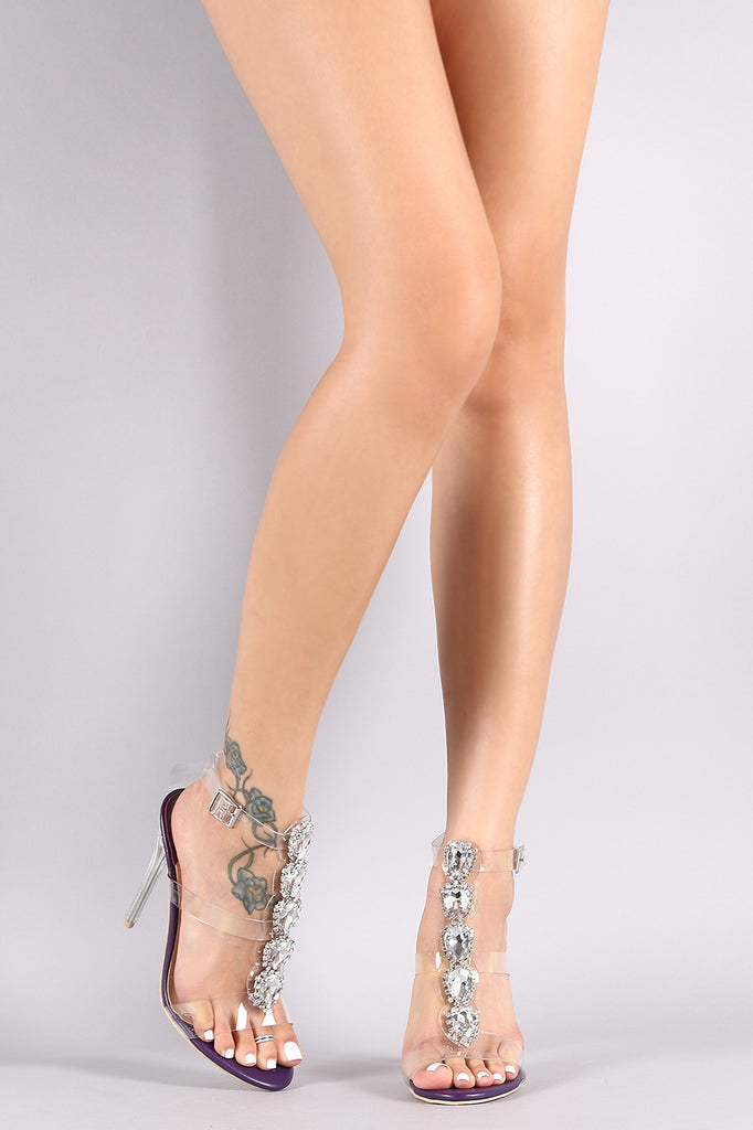 Jeweled Clear Straps Stiletto Heels