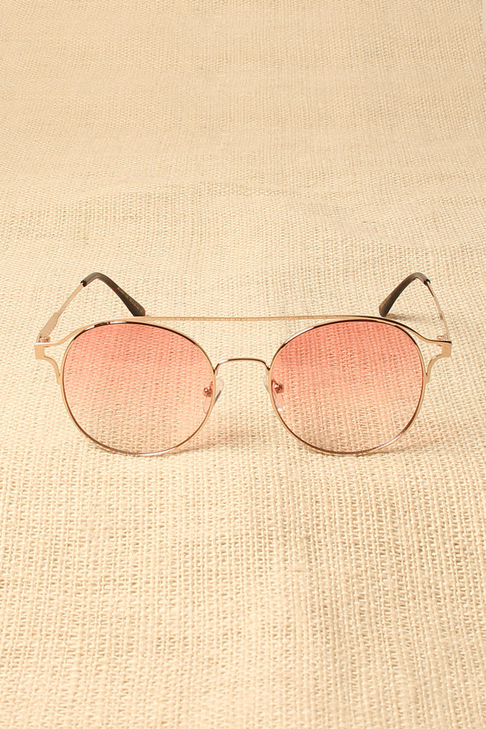 Ombre Brow-Bar Round Sunglasses