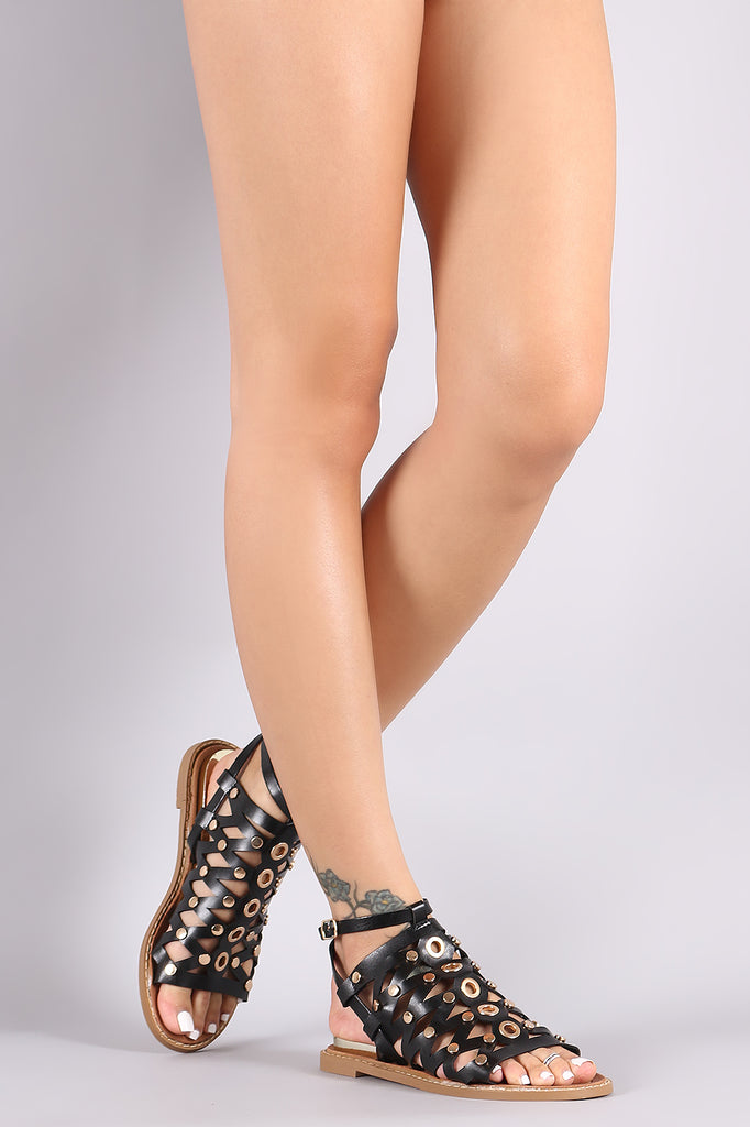 Studded Caged Open Toe Flat Sandal