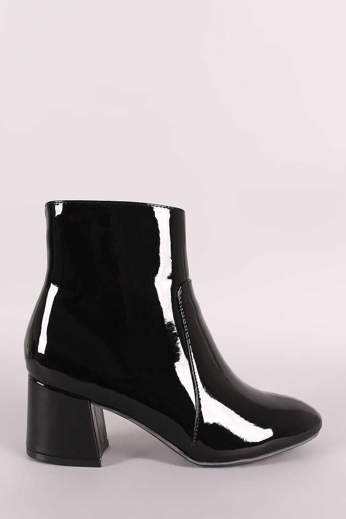 Bamboo Patent Block Heeled Ankle Boots