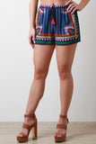 Mixed Print Tassel Drawstring Decor Shorts