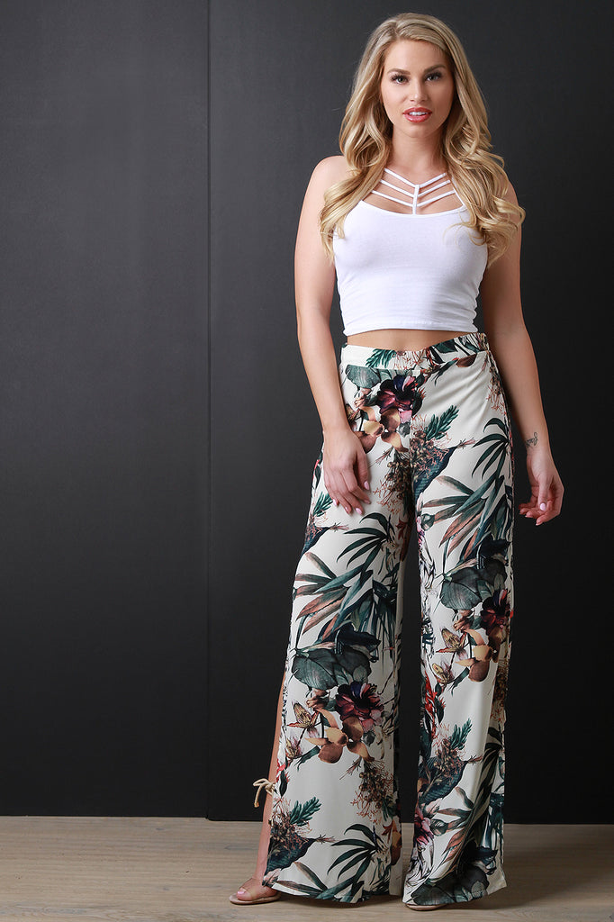 Tropical Print Wide Leg Side Slit Pants