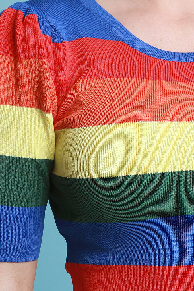 Rainbow Striped Knitted Sweater Dress