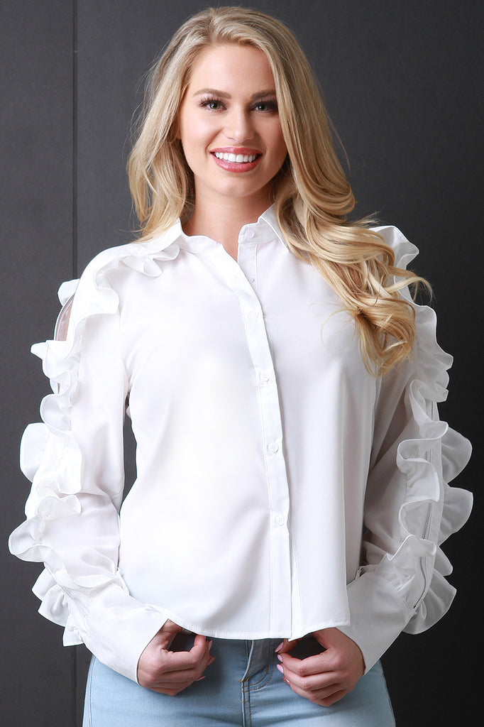 Ruffle Statement Zipper Sleeve Button-Up Top