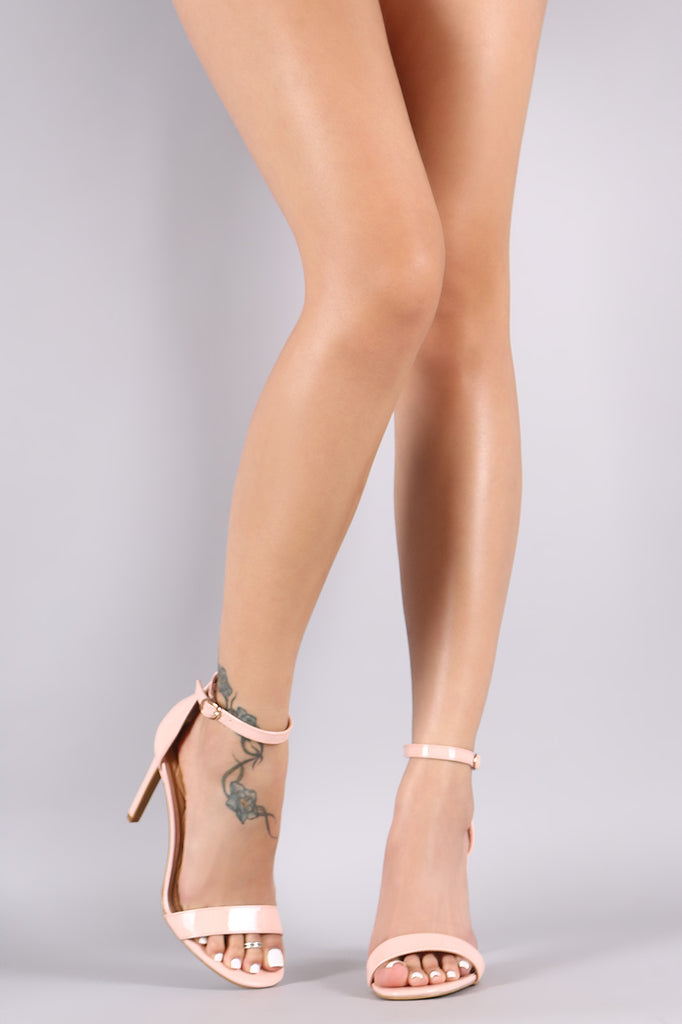 Anne Michelle Patent Ankle Strap Single Sole Heel