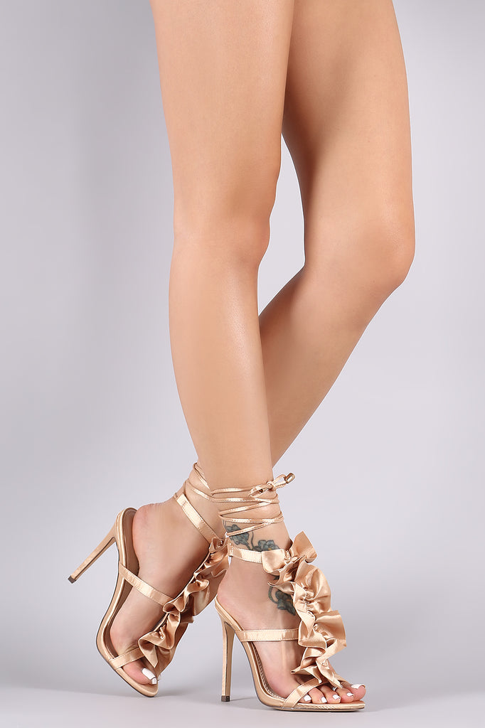 Ruffle Triple Straps Ankle Lace Up Stiletto Heel