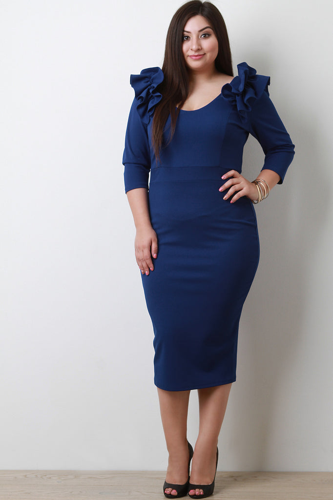 Ruffled Long Sleeves Bodycon Midi Dress