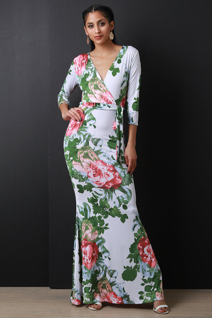 Floral Surplice Mermaid Maxi Dress