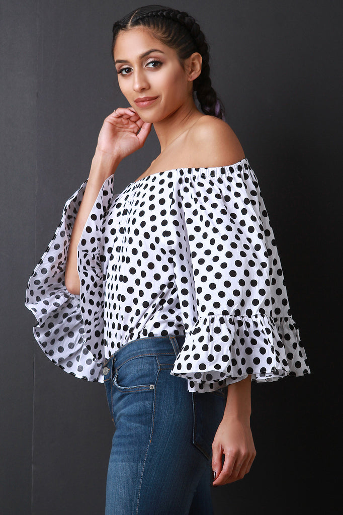 Polka-Dot Statement Bell Sleeve Top