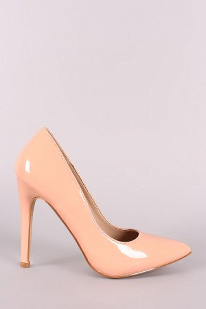 Vegan Patent Leather Pointy Toe Pump