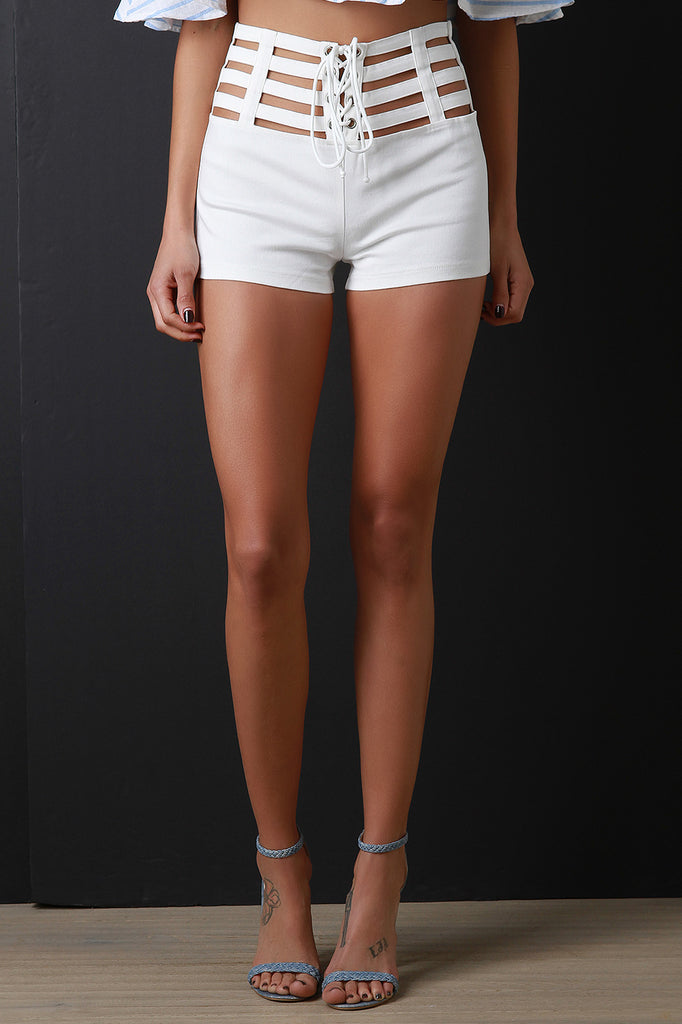 Lace-Up Caged Hip Shorts