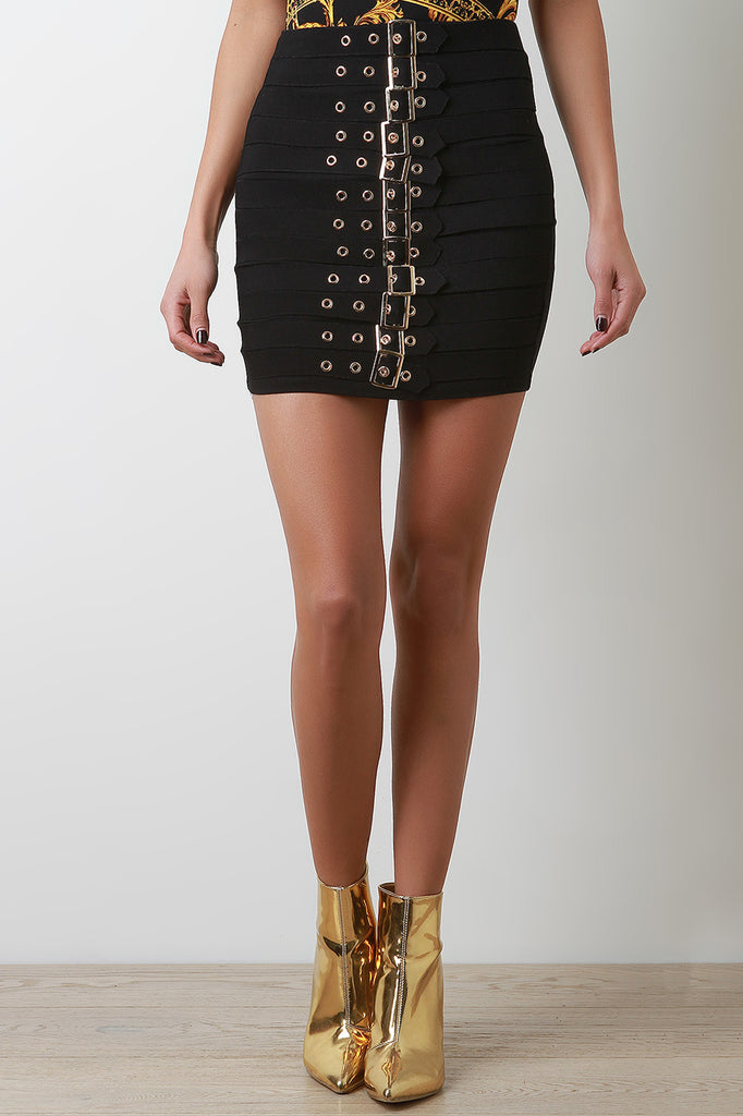 Grommet Strappy Buckles Mini Skirt