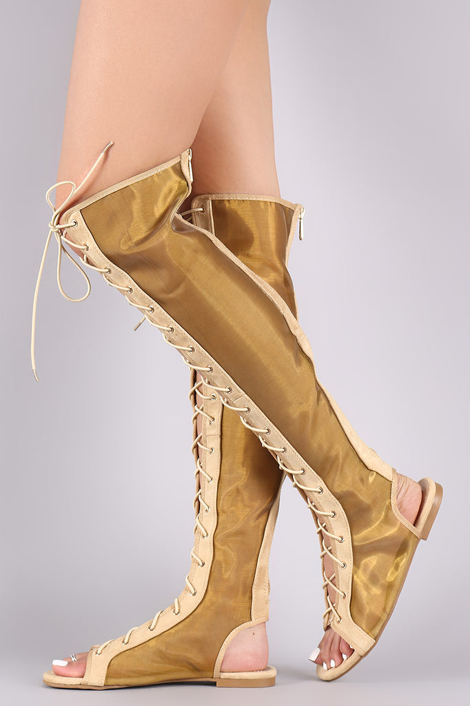 Mesh Open Toe Lace-Up Over-The-Knee Flat Boots