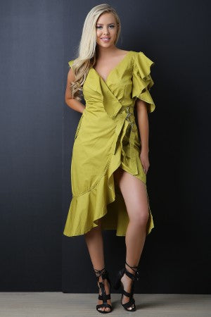 Asymmetric Ruffles Surplice Buckled Wrapped Dress