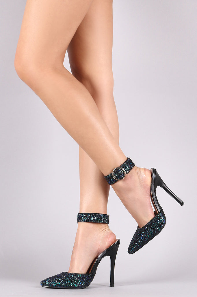Glitter Encrusted Ankle Cuff Pointy Toe Stiletto Pump