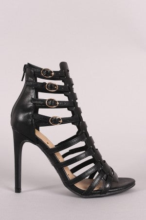 Strappy Weave Cage Vamp Open Toe Stiletto Heel
