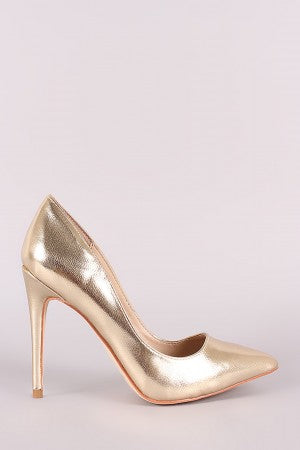 Anne Michelle Metallic Pointy Toe Stiletto Pump