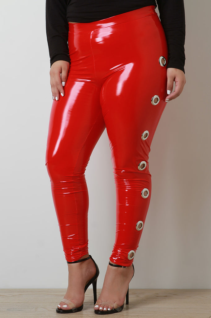 High Waisted Latex Side Eyelet Leggings