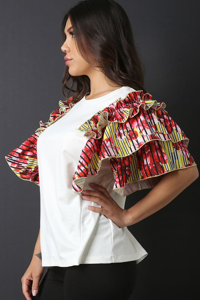 Floral Stripe Ruffle Statement Sleeve Top