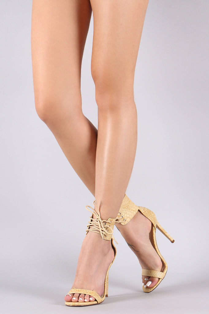 Snake Embossed Ankle Cuff Lace-Up Stiletto Heel