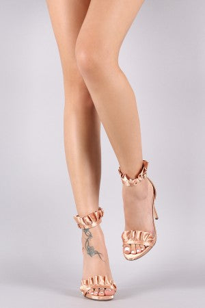 Liliana Satin Ruffled Ankle Strap Stiletto Dress Heel
