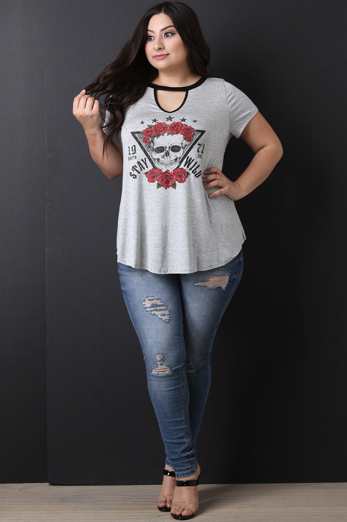 Stay Wild Rose Skull Top