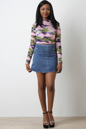 Denim High Waisted Zipper Accent Mini Skirt
