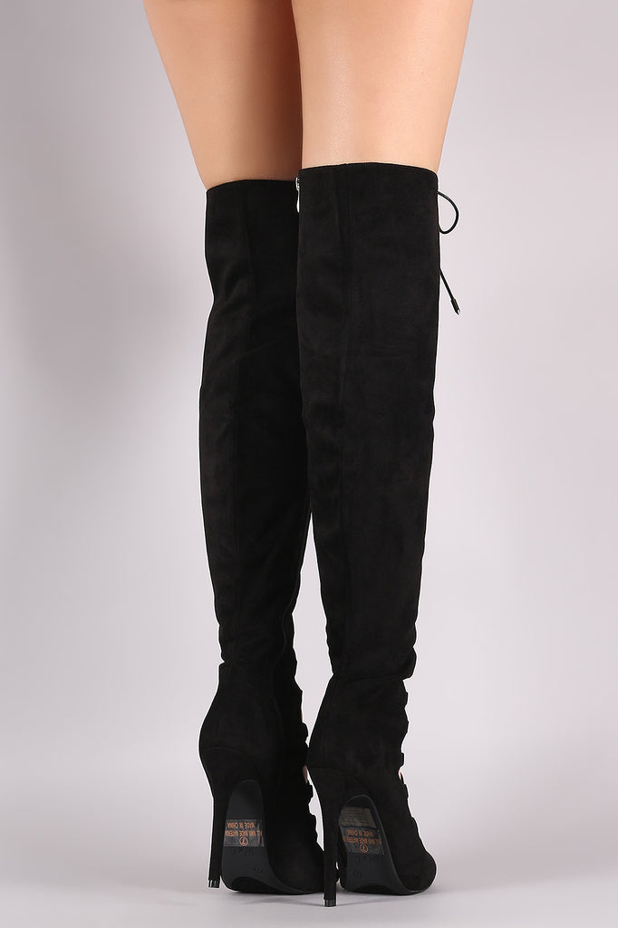 Suede Peep Toe Lace-Up Heeled Over-The-Knee Boots